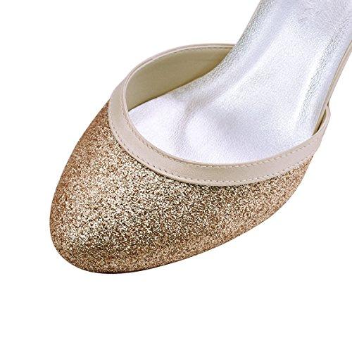 ElegantPark HC1510 Runde Zehen Hoch Absatz Schnalle Pumps Glitter PU Silber Party Tanzschuhe Damen Brautschuhe Champagner mwRm9GDqu