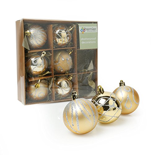 D2W Christmas Shatterproof Baubles 9 Pack Available In 3 Colour Options (Sold Seperately) (Champagne Gold)