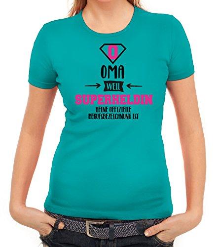 Geburtstags,- Muttertagsgeschenk Damen T-Shirt mit Oma - Superheldin Motiv karibikblau