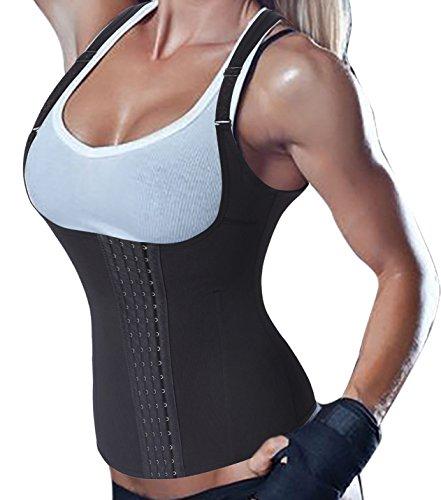 Damen Waist Trainer Vest Body Shaper Sport Cincher Korsett Taille Corsage 4 Haken mit Adjustable Strap (M(Fit 29.1-31.4 Inch Waist), Black(3-5 Days Delivery))
