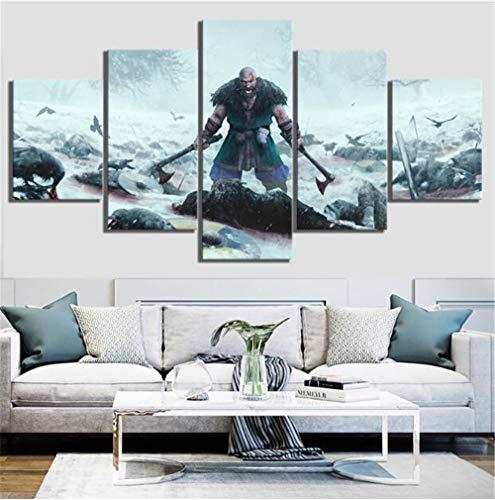 WLHZNB Leinwanddrucke 5 Stücke Hd Viking Gemälde Movie Poster Leinwand Kunst Dekoration Wandkunst (Größe 3) Kein Rahmen