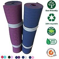 YOGOM.FR Grand Tapis de Yoga Non Toxique, antidérapant, écologique + Sangle de Transport 183x61x0,6 (5 Couleurs Disponibles)