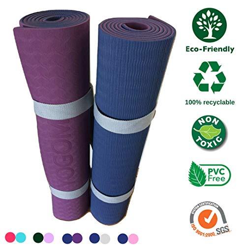 Grand Tapis de Yoga Non Toxique, antidérapant, écologique + Sangle de Transport 183x61x0,6 (Bleu Marine/Bordeaux, Coins arrondis)