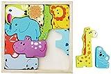 The Cuddle buntes Tier Puzzle aus Holz (12 Teile) für Kinder, Lernspiel, Legespiel, Spielsachen