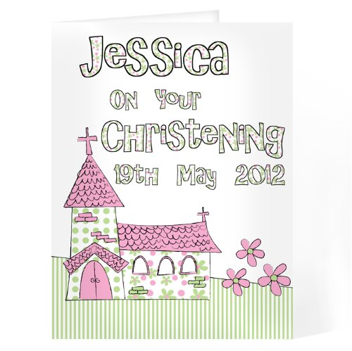 C.P.M. Pink Church Card Christening, Religious, Naming Gift, Idea Cards, idea Personalised