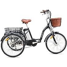 """Jorvik 20""""estilo eléctrico triciclo 36V 250W adultos triciclo/triciclo con discapacidad/carga/E–Varios colores disponibles, Black Dutch"""