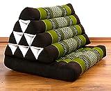 Thaikissen der Marke Asia Wohnstudio, Thaikissen mit Auflage und großem Asia Dreieckskissen als Entspannungskisen, Bodenkissen bzw. Sitzkissen (grün / braun) - 2