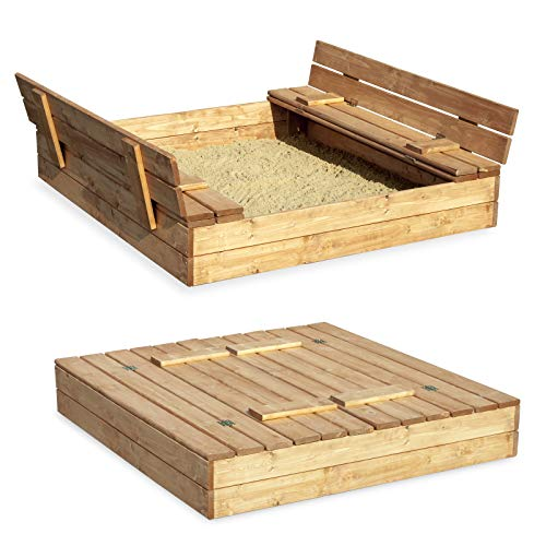Sandkasten Sandbox Sandkiste mit Klappdeckel Sitzbänken 120x120x20 Kiefernholz mit Anti-Unkraut Bodenplane Deckel und Bank Buddelkasten Quadratisch Gartenspiel