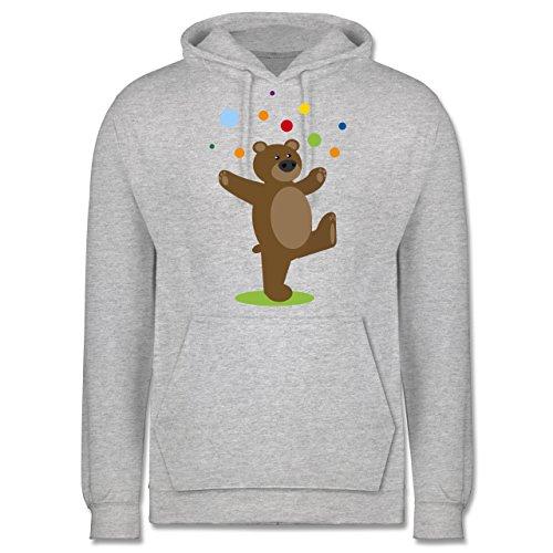Sonstige Tiere - Kinder-Motiv Bär - Herren Hoodie Grau Meliert