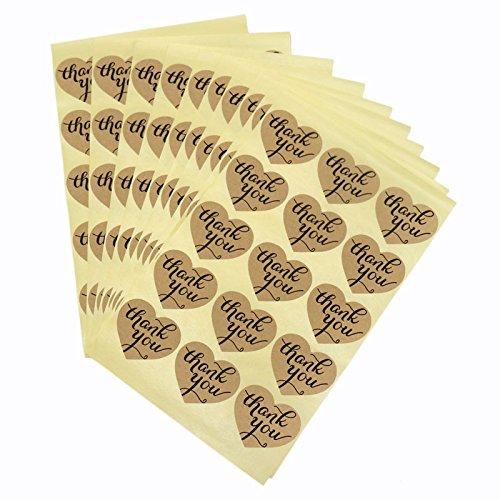 jijAcraft 150Pcs Thank You Kraftpapier Aufkleber mit Herzen für Wedding Favor,Card-Making,DIY Gift Package (Gläser Wedding Favor)