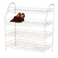 H & L Russel Ltd 4 Tier White Wire Shoe Rack, Holds Up To 16 Pairs of Shoes, Large