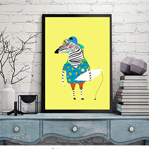 wall stickers art sticker Murals Decal Decals children vinyl Nordic Watercolor Modern Animal Zebra Print Sloth Poster A4 Nursery Decor Funny Wall Picture For Kids Room Painting No Frame 30cm*21cm -