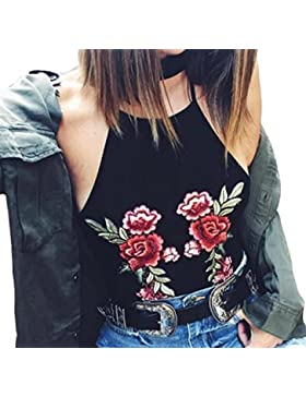 Tongshi Mujeres Colgantes Bordado Corto Sling Camisa Chaleco Blusa