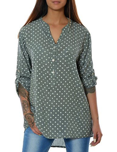 Damen Bluse Casual Hemd Top Oberteil Long-Shirt Tunika 3/4 Arm No 15643 Khaki
