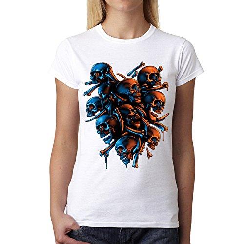 Skelett Schädel Horror Damen T-shirt S-2XL Neu Weiß