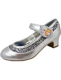 De Chica Frozen Disney Zapatos de salón tacón en bloque Plateado Fiesta Dama De Honor Boda 8-13