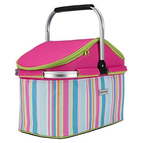 anndora Einkaufskorb 25 Liter Isolierkorb Picknick Kühlkorb - pink Limette