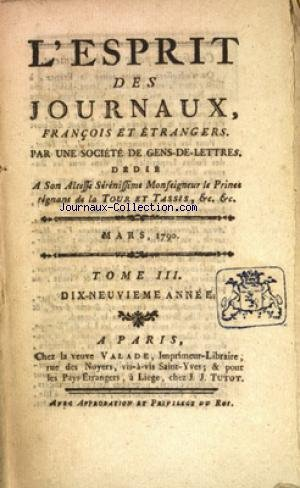 ESPRIT DES JOURNAUX (L') du 01/03/1790