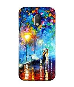 PrintVisa Designer Back Case Cover for Motorola Moto E3 :: Motorola Moto E (3rd Gen) (Graphic Paint Blue Drawing Modern Art Road Walk)