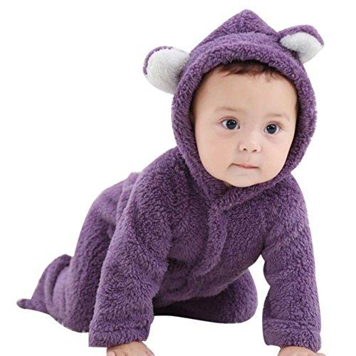 Baywell Baby Strampler Overall, Langram Korallen Fleece Cartoon Warme Winter Baby Hoodie Jumpsuit(Lila, L/6-9 Monate)