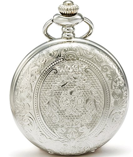 SEWOR Classic Carved Shell Dial Japanese Quartz Movement Pocket Watch with Fashion Double Chain (Metal & Leather) (Silver)