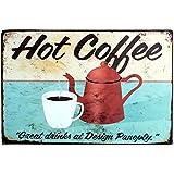 Itemer Hot Pot de café Tasse plaque en métal nostalgique vintage rétro publicité émail plaque murale