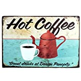 itemer Blechschild Werbung Hot Coffee Pot Cup Metall Schild retro Home Office Bar Coffee Shop Dose Crafts