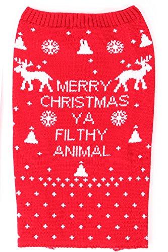 Haustier Hund Frohe Weihnachten Du Schmutzige Tier Pullover Größe Klein bis groß (Klein, (Hause Kostüme Zu Billig Halloween)