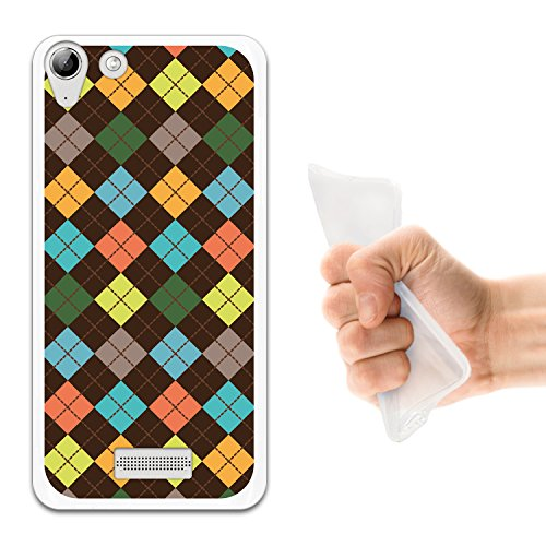 WoowCase Wiko Selfy 4G Hülle, Handyhülle Silikon für [ Wiko Selfy 4G ] Mehrfarbiger Schottenkaro Rhombus Handytasche Handy Cover Case Schutzhülle Flexible TPU - Transparent