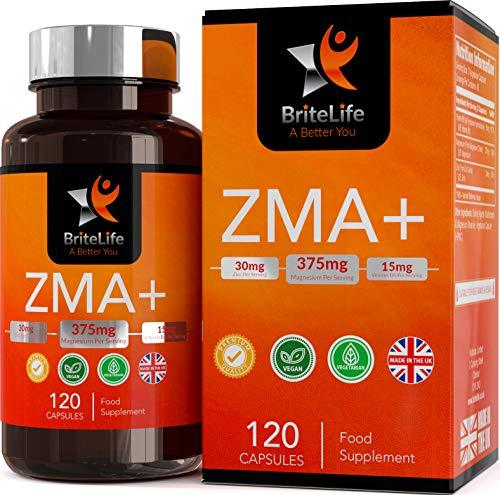 ZMA+ (Suplemento de Zinc, Magnesio y Vitamina B6) - 125 mg por porción de Britelife| PARA SOPORTE INMUNO, HORMONAL Y ATLÉTICO | TESTOSTERONA SUPLEMENTO NATURAL | 120 capsulas de gel