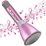 TOSING Microfono per Bambini, Microfono Karaoke Palmare Portatile Bluetooth Senza Fili Karaoke Machine per la casa Festa Compleanno Regali e Giocattoli di Natale per Bambini Ragazze età 5 6 7 8 9