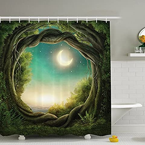 Shower Curtain Tree Bathroom Modern Art Extra Long Waterproof Mildew Resistant Curtains with 12 Hooks for Home Decoration (180x180 cm, Green