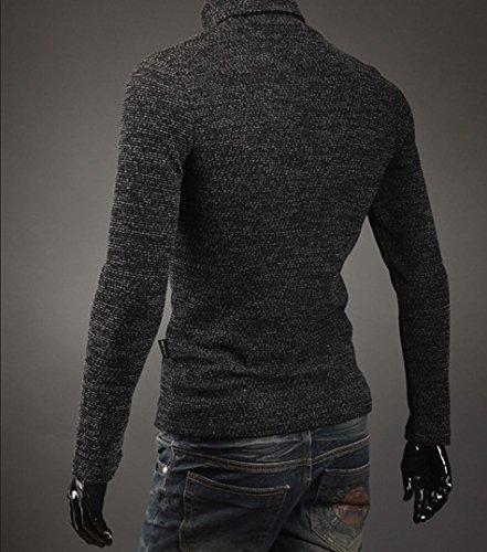 BOMOVO Herren Dickes Rollkragen Strickpullover Pullover Sweatshirts Slim Fit Dark Grau