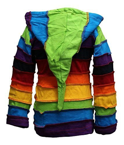 Shopoholic Moda Infantil Duende Coloridos Hippie De Rayas Con Capucha Hippy Boho Infantil Chaqueta De Punto - Arcoiris, Small