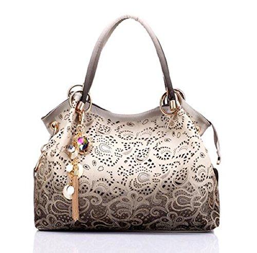 Syknb Donne Borse Messenger Belle Donne Borsetta Moda Fiori Stampa Borsa Donna Dolce Bag,Grigio Chiaro light gray