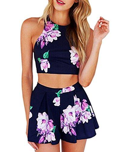 Drucken Strand Party Einteiler Jumpsuit Clubwear Blumen Elegant Einteiler Overall Blau DE 40 (Süßes Paar Onesies)