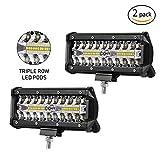 Favoto LED Light Bar 7inch 2 Packs Spot Flood Combo Off Road Driving Lights 6000 Lumens Triple-Row Weatherproof for Cars Trucks SUV ATV