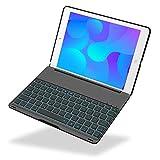 iEGrow iPad 2017 9.7 Tastatur Hülle Keybord Case, F8S 7 Farben LED-Hintergrundbeleuchtung Tastatur mit Schützend Schutzhülle iPad 9.7-inch und iPad Air [QWERTZ deutsches Tastaturlayout] Schwarz