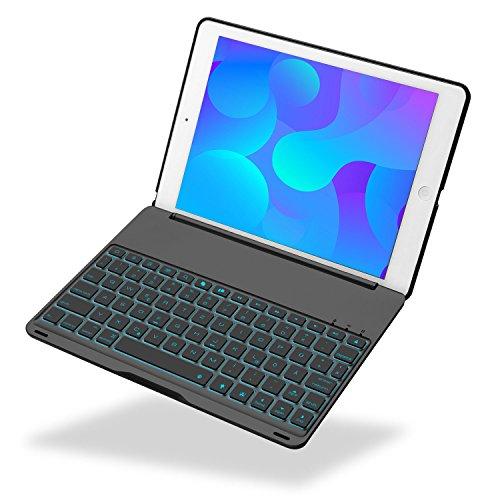 iEGrow iPad 2017 9.7 Tastatur Hülle Keybord Case, F8S 7 Farben LED-Hintergrundbeleuchtung Tastatur mit Schützend Schutzhülle iPad 9.7-inch und iPad Air [QWERTZ deutsches Tastaturlayout] Schwarz -