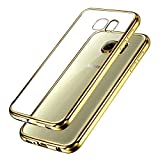Samsung Galaxy S7 Bumper Case , Ubegood Ultra-Thin [Drop Protection]Shock Resistant [Metal Electroplating Technology] Soft Gel TPU Bumper Case for Samsung Galaxy S7 Case cover - Gold