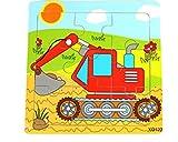 Upstudio Pädagogisches kreatives Holzspielzeug Cute Wooden Educational Puzzle Früherziehung Anzahl Formen Farbe Tier Spielzeug Fantastische Geschenke Für Kinder (Bagger)