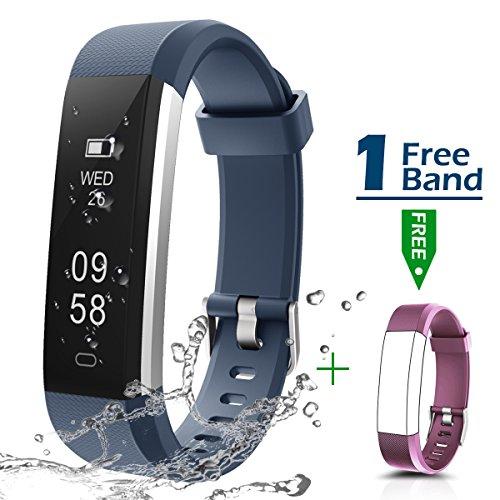 Fitness Armbanduhr, CHEREEKI Fitness Tracker Smartwatch Wasserdicht IP67 Aktivitätstracker Schrittzähler Armbanduhr Schlafanalyse Kalorienzähler Anruf/ SMS Kompatibel mit iPhone und Android (Blau)