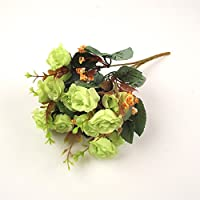 Meena Supplies 15 Head Bunch of Small Artificial Silk Roses with Leaves and Foliage (Lime Green)