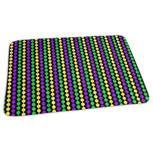Quarter Inch Mardi Gras Beads On Black Baby Portable Reusable Changing Pad Mat 19.7x27.5 inch