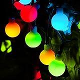 Wasserdicht LED Globe Lichterkette,KINGCOO 23ft/7M 50 LED Solar Kugel Lichterkette Bunt,Innen und Außen Deko Glühbirne,Weihnacht Sbeleuchtung für Hochzeit,Party,Weihnachtsbaum