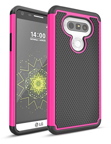 LG G5 Fall, bis, zweilagige Hybrid Defender Rugged Slim Case Massivholz Weich Innen Silikon Bumper Hart PC Back Cover Shell für LG G5 Phone AT & T T-Mobile Sprint Verizon entsperrt, Balck/Hot Pink