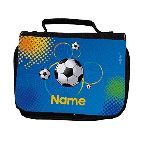 Striefchen® Kulturtasche für Jungen - Fußball - mit Aufdruck des Wunschnamen