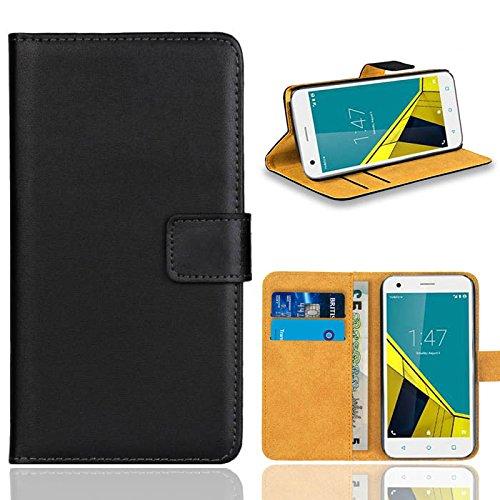 Vodafone Smart Ultra 6 Handy Tasche, FoneExpert® Wallet Case Flip Cover Hüllen Etui Ledertasche Lederhülle Premium Schutzhülle für Vodafone Smart Ultra 6 (Schwarz)