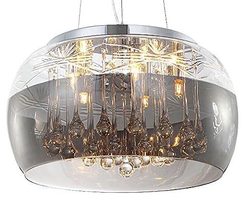 Cristal plafonnier suspension lampe lustre pendentif éclairage lumière abat-jour verre salle à manger désign moderne 40cm 5xG9 douille