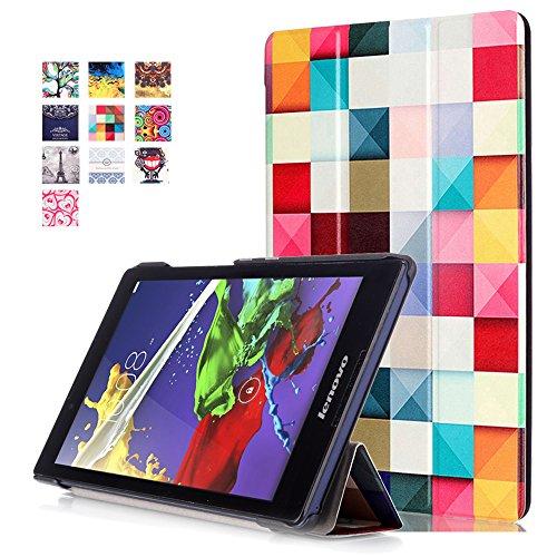 Housse Lenovo Tab 2 A8-50 - Slim-Fit Housse Smart Case Flip Cover Coque Etui en Cuir pour Tablette Lenovo Tab 2 A8-50 8 Pouces (20,3 cm) Case avec Pochette Fonction de Support (#2 Cube coloré)